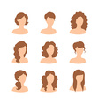 Different hair style for woman vector image vector image