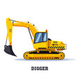 digger excavator truck or backhoe tractor icon vector image vector image