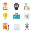 electrician service flat icon set vector image