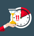 eleven minutes time symbol flat design clock icon vector image vector image