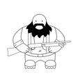 Fat redneck with shotgun Line-art vector image vector image