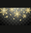 festive golden snowflakes isolated on transparent vector image vector image