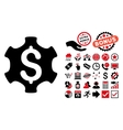 Financial Settings Flat Icon with Bonus vector image vector image