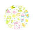 fresh juice and tropical fruits seamless pattern vector image vector image