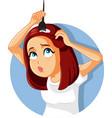funny woman dying her hair at home vector image vector image