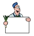 greengrocer with leek and sign vector image vector image