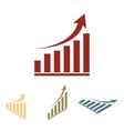 growing graph icon set Isometric effect vector image