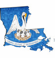 grunge louisiana map with flag inside vector image