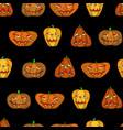 halloween pumpkin seamless black pattern vector image