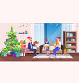 happy family in santa sitting on couch near fir vector image vector image