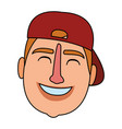 man face with hat vector image vector image