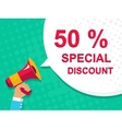 Megaphone with 50 PERCENT SPECIAL DISCOUNT vector image