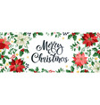 merry christmas design composition of poinsettia vector image