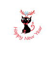 new year greeting card with funny cat vector image vector image