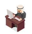 office work table pc arab businessman traditional vector image