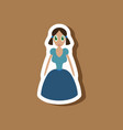 paper sticker on stylish background doll in dress vector image