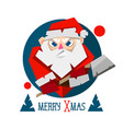santa claus hat and beard in paper cut style vector image vector image