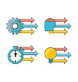 set data process with teamwork development process vector image