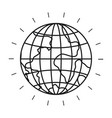 silhouette front view globe earth world vector image vector image