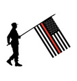 soldier with red line firefighter flag silhouette