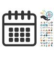Spiral Calendar Icon With 2017 Year Bonus Symbols vector image