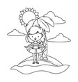 summer and kids cartoon in black and white vector image vector image