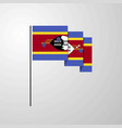 swaziland waving flag creative background vector image vector image