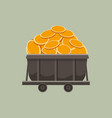 trolley full of gold coins mine tool business vector image