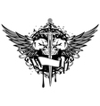 two skulls wings and sword vector image vector image