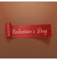 Valentines Day scroll red Ribbon with Hearts vector image
