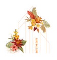 watercolor tropic floral wedding frame vector image vector image