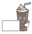with board ice chocolate character cartoon vector image vector image