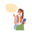 woman showing on empty speech bubble chat box vector image vector image
