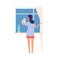 woman washing window housework cleaning service vector image