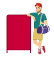 athlete leaning against a red blank board vector image