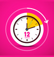12 twelve minutes analog circle clock on pink vector image vector image