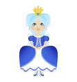 a snow princess queen in blue dress and crown vector image vector image