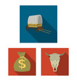 attributes of the wild west flat icons in set vector image vector image