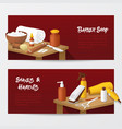 barber shop banners with mens fashion tools vector image vector image