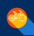 bicycle bike sign white icon on tangelo vector image