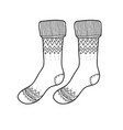 black engraved warm socks hand drawn ink drawing vector image vector image