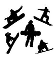 black silhouette of snowboarder on white vector image