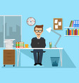 businessman sitting at office desk with laptop vector image vector image