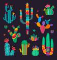 cartoon mexican cactus flowers desert succulents vector image