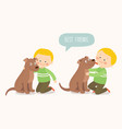 child lovingly embraces his pet dog a little dog vector image