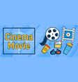 cinema movie concept banner cartoon style vector image vector image