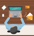 colorful background on top view of man on desk vector image