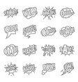 comic colored sound icons set outline style vector image vector image