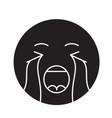 crying emoji black concept icon crying vector image vector image