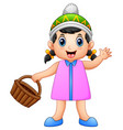 cute little girl holding a vector image